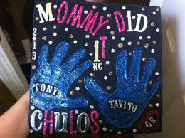 Grad Cap decorated with kid s handprints Decorations