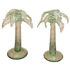 pair of murano glass palm tree candlestick circa 1940s at