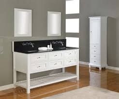 Double Vanity Sink Designs Awesome White Themed Bathroom With Chrome Faucet Also White Wooden