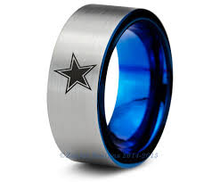 wedding rings dallas dallas cowboys blue tungsten wedding band ring mens womens brushed