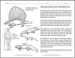 animals of the late paleozoic free printable worksheet