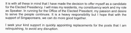 Sample Letter Of Intent To Run For Elected Office by Halimah Yacob U0027s Resignation Letter Is About Why She Should Be
