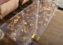 Ideas For Bone Inlay Furniture Design Contemporary Gold Leaf Inlay Coffee Table With Brass Frame For