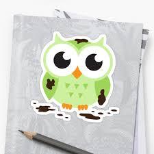 cute green cartoon owl covered in mud