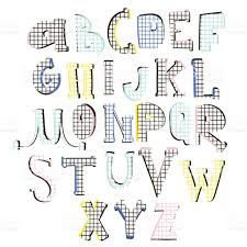 abstract stylish alphabet creative retro style font great for