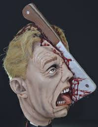 cleave meat cleaver bloody gory split open head cleaved scary ugly