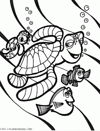nemo sea turtle coloring page
