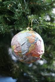 diy map ornaments w sparkle mod podge
