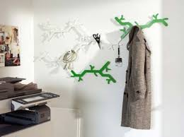unique wall hooks tree design white and green unique wall hooks