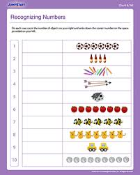recognizing numbers free math worksheet for preschoolers