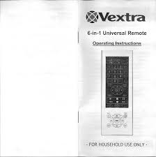 vextra 6 in 1 universal remote documents