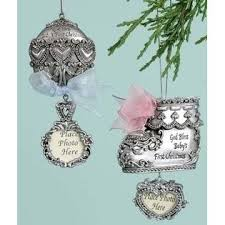 pack of 6 silver baby rattle shoe photo ornaments
