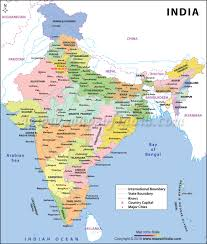 map all india large color map