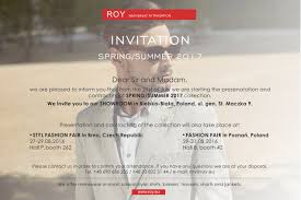 Showroom Invitation Card For Business Partners Terms Of Cooperation Roy Menswear Brand