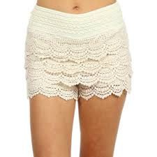 waist band ruffle lace layers scalloped edge shorts with elastic waist
