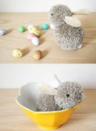 diy pom pom bunny easy easter craft decoration project for