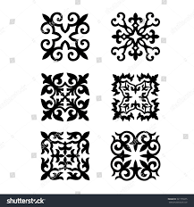 set kazakh national ornaments patterns stock vector 321776975