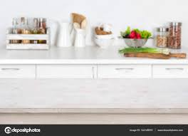 Wooden Kitchen Table Background Wooden Table On Blurred Kitchen Interior Background With Fresh