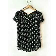 pleione blouse 69 pleione tops pleione sheer black white eyelet polka dot