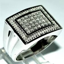 men big rings images Mens large diamond ring square top 50ct white gold 14mm big sz 10 jpg