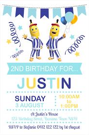 personalised bananas in pyjamas birthday party invitations invites