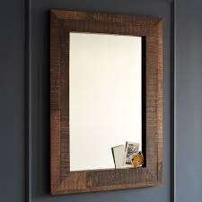 wall mirrors bathroom alluring reclaimed wood wall mirror west elm bathroom with wood