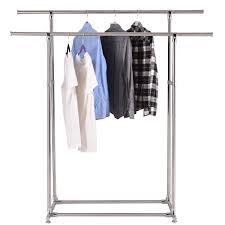 Stainless Steel Laundry Hamper by Heavy Duty Double Rail Garment Rack Clothes Hanger Closet