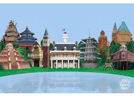 Epcot World Showcase Map Disney Themed Art Epcot World Showcase Walt Disney World