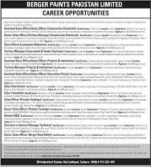 latest jobs in berger paints pakistan limited educator pk