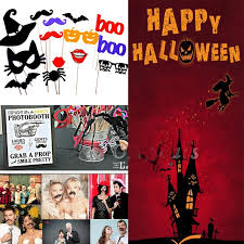 Halloween Photo Booth Props 14pcs Set Funny Halloween Photo Booth Props Pumpkin Mustache Party