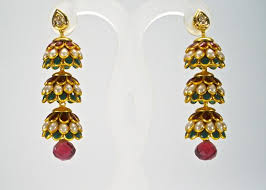 pachi earrings 3 tier pachi jhumkas maia collections