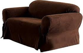 Leather Suede Sofa Soft Suede Sofa Slipcover Chocolate Home Kitchen