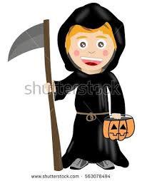 Death Costumes Halloween Kid Death Halloween Costume Isolated Stock Vector 502482910