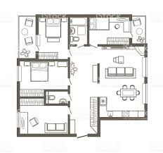 linear architectural sketch plan of four bedroom apartment stock