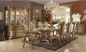 vendome 9 piece double pedestal dining set in gold patina