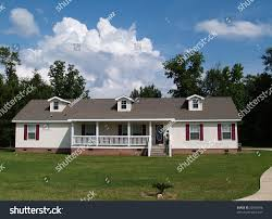 One Story Farmhouse One Story Residential Home Vinyl Siding Stock Photo 32930596