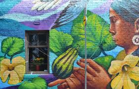 brockton murals as i walk toronto part of a larger mural on a wall with a window a large painting of