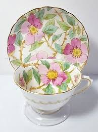 roses tea set tuscan painted pink roses tea cup saucer set