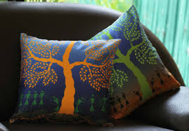 wholesale 18 x 18 inch unique warli art cushion cover faux silk