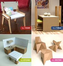 Dollhouse Kitchen Furniture by 1 Modern Cardboard Chair 2 Dollhouse Dining Table 3 Dollhouse