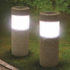 solar power pillar white led lights garden lawn courtyard