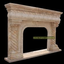 Travertine Fireplace Hearth - travertine fireplace mantel with lion statues french style