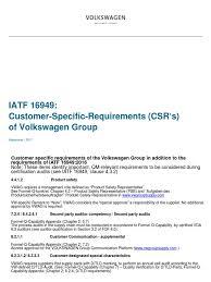 volkswagen group volkswagen group csr iatf 16949 sept 2017 audit supply chain