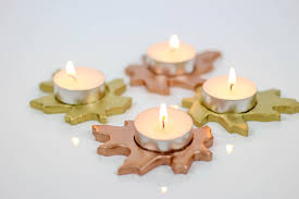 diy metallic leaf tealight candle holders