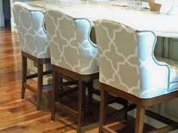 Bar Height Kitchen Island Kitchen Decorating Design Ideas Using Patterned Light Grey Fabric