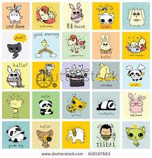 kid cards panda doodle kid set simple design stock vector 581943220