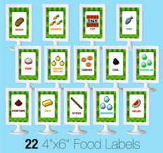 minecraft party printable minecraft food labels creative