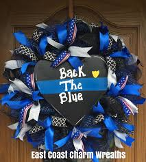 on sale police thin blue line back the blue wreath home decor gift
