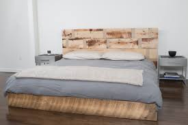 reclaimed wood floor king size platform bed frame with headboard
