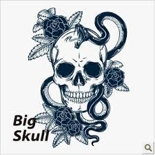 grey ink skull and snake design